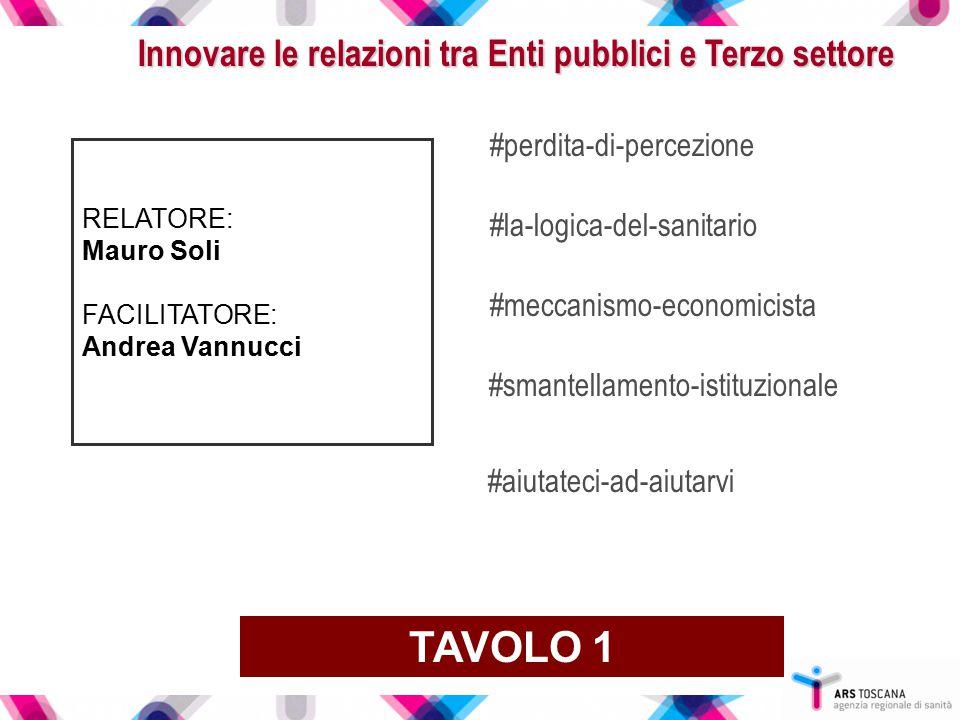 Innovare le relazioni tra Enti pubblici e Terzo settore RELATORE: Mauro Soli FACILITATORE: Andrea Vannucci TAVOLO 1 #perdita-di-percezione #la-logica-