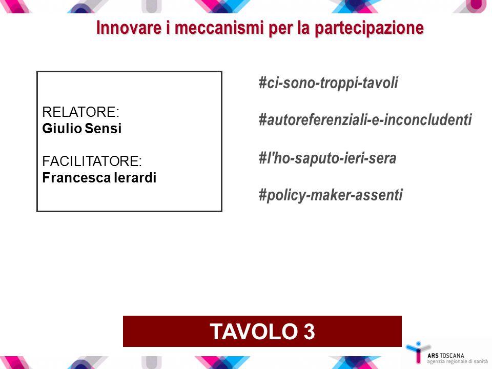 Innovare i meccanismi per la partecipazione RELATORE: Giulio Sensi FACILITATORE: Francesca Ierardi TAVOLO 3 #ci-sono-troppi-tavoli #autoreferenziali-e