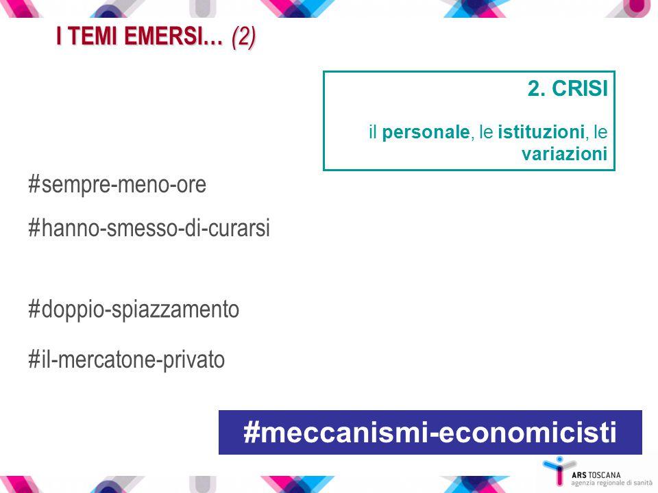 2. CRISI il personale, le istituzioni, le variazioni I TEMI EMERSI… (2) #sempre-meno-ore #meccanismi-economicisti #hanno-smesso-di-curarsi #il-mercato