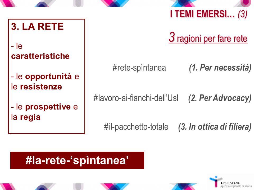 I TEMI EMERSI… (3) 3 ragioni per fare rete 3. LA RETE - le caratteristiche - le opportunità e le resistenze - le prospettive e la regia #rete-spìntane