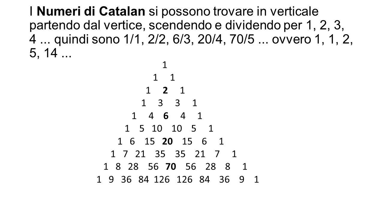 I Numeri di Catalan si possono trovare in verticale partendo dal vertice, scendendo e dividendo per 1, 2, 3, 4... quindi sono 1/1, 2/2, 6/3, 20/4, 70/