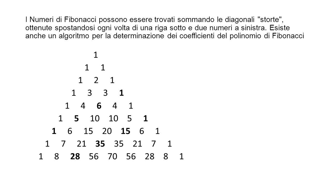 I Numeri di Fibonacci possono essere trovati sommando le diagonali
