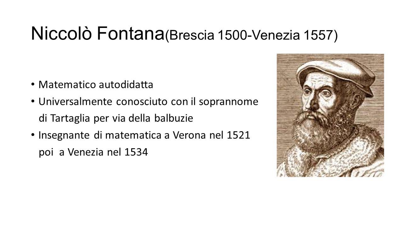 Niccolò Fontana (Brescia 1500-Venezia 1557) Matematico autodidatta Universalmente conosciuto con il soprannome di Tartaglia per via della balbuzie Ins
