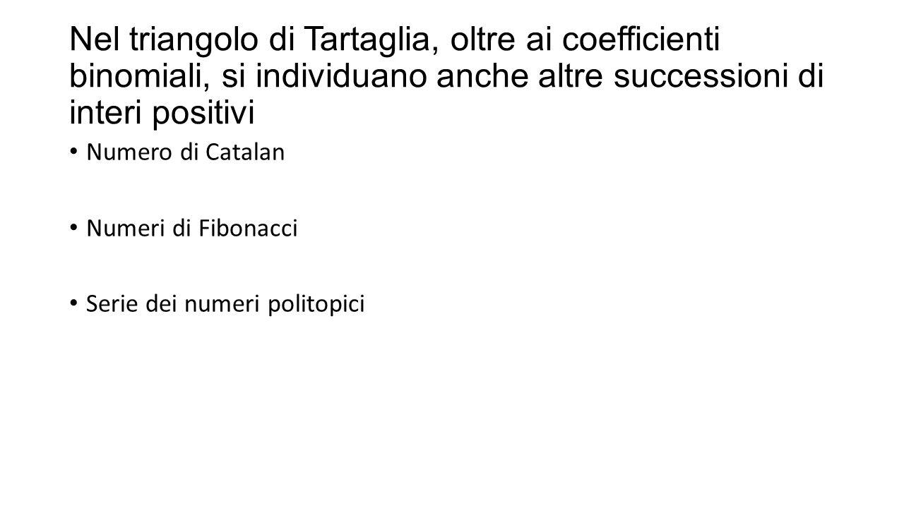 Nel triangolo di Tartaglia, oltre ai coefficienti binomiali, si individuano anche altre successioni di interi positivi Numero di Catalan Numeri di Fib