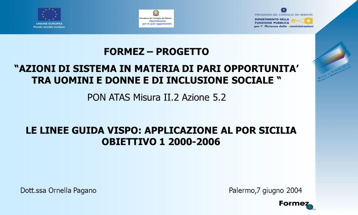 LE LINEE GUIDA VISPO: APPLICAZIONE AL POR SICILIA OBIETTIVO 1 2000-2006 Dott.ssa Ornella Pagano Palermo,7 giugno 2004 FORMEZ – PROGETTO AZIONI DI SISTEMA IN MATERIA DI PARI OPPORTUNITA' TRA UOMINI E DONNE E DI INCLUSIONE SOCIALE PON ATAS Misura II.2 Azione 5.2