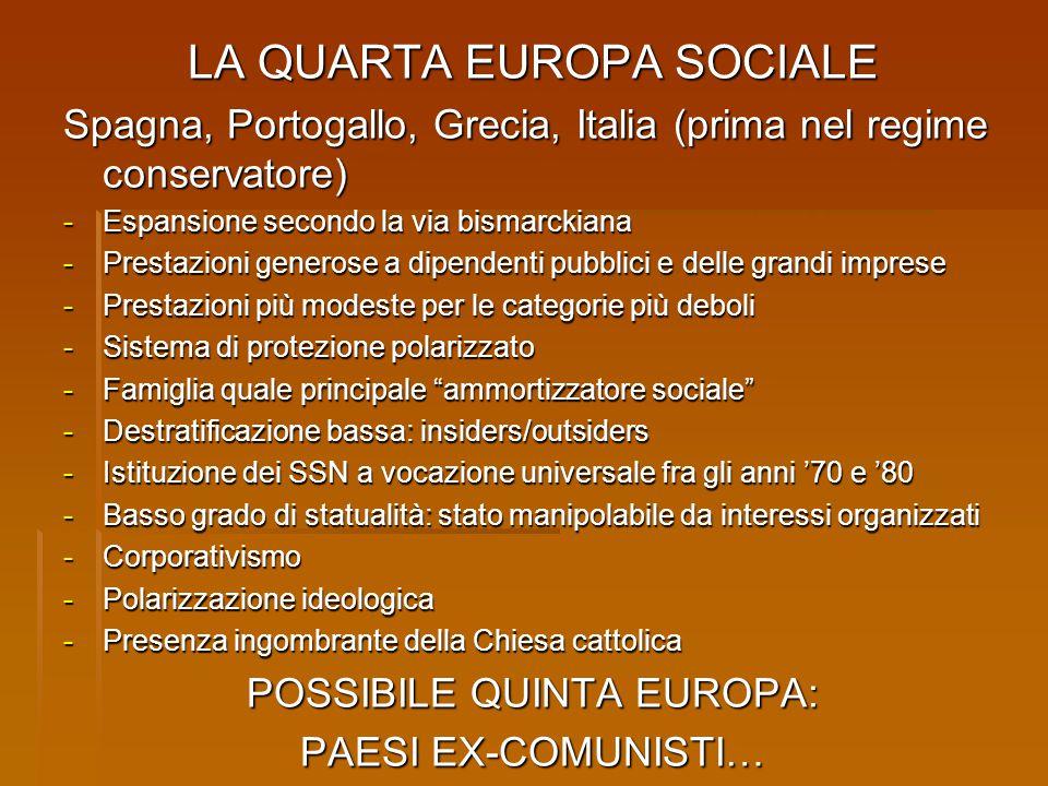 LA QUARTA EUROPA SOCIALE Spagna, Portogallo, Grecia, Italia (prima nel regime conservatore) - Espansione secondo la via bismarckiana - Prestazioni gen