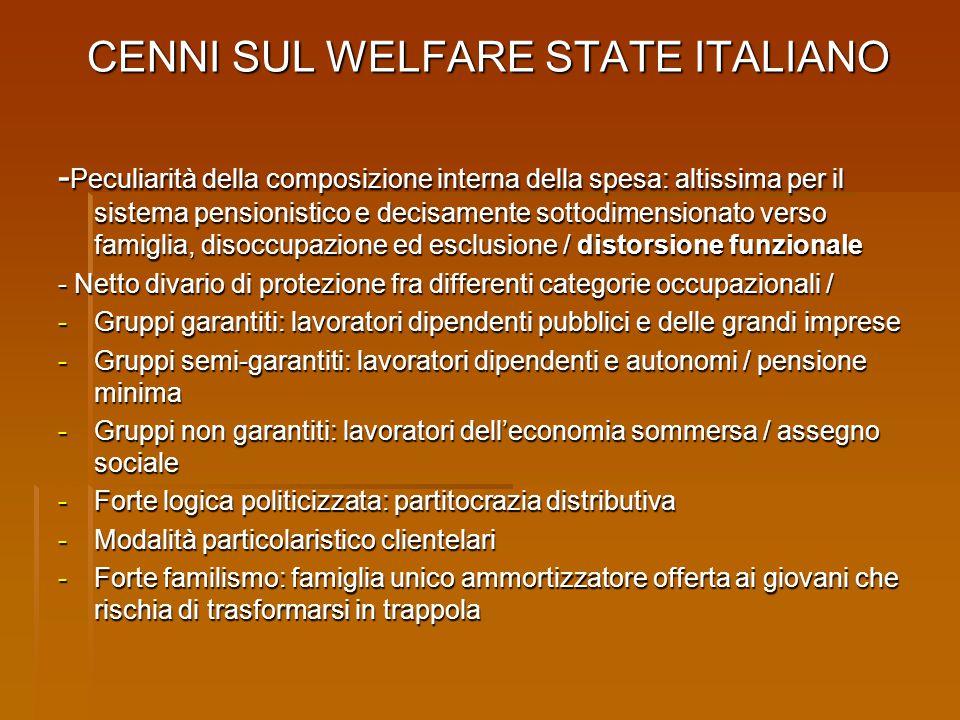 CENNI SUL WELFARE STATE ITALIANO - Peculiarità della composizione interna della spesa: altissima per il sistema pensionistico e decisamente sottodimen