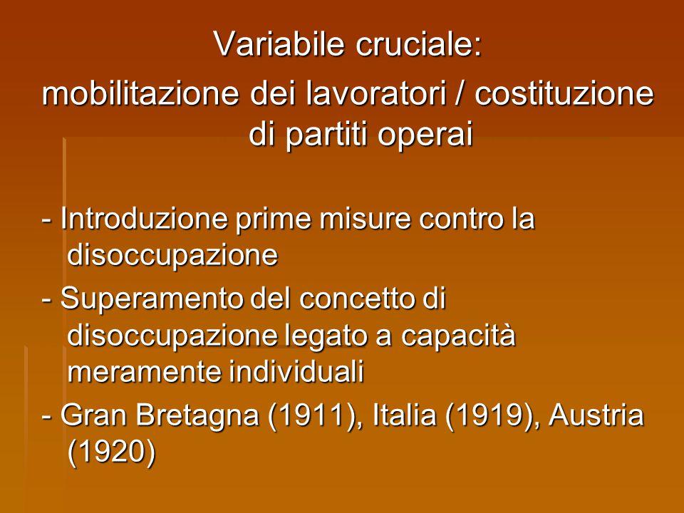 Variabile cruciale: mobilitazione dei lavoratori / costituzione di partiti operai - Introduzione prime misure contro la disoccupazione - Superamento d
