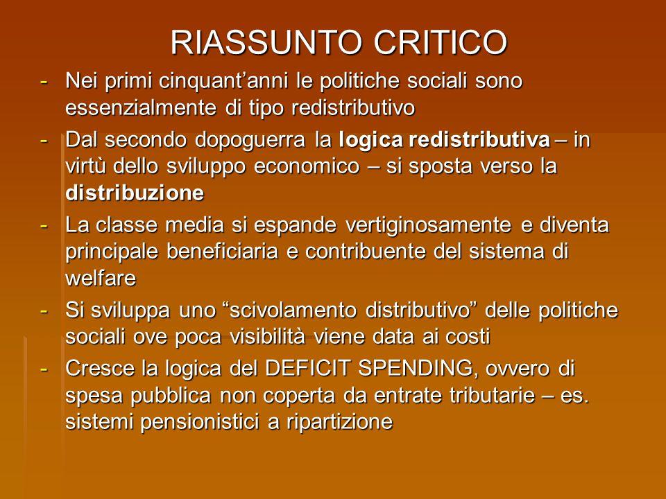 RIASSUNTO CRITICO - Nei primi cinquant'anni le politiche sociali sono essenzialmente di tipo redistributivo - Dal secondo dopoguerra la logica redistr