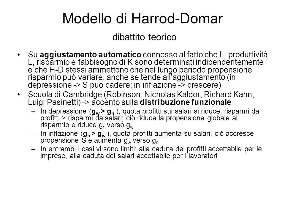 Modello di Harrod-Domar dibattito teorico Su aggiustamento automatico connesso al fatto che L, produttività L, risparmio e fabbisogno di K sono determ