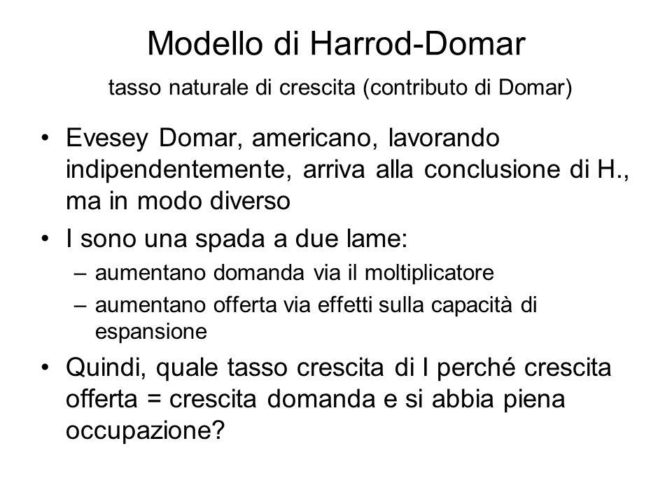 Modello di Harrod-Domar Questioni principali per Harrod Se la  Y =>  I, quale è il tasso di crescita di Y che assicura uguaglianza tra pianificazione I e S, così da garantire una crescita in equilibrio nel lungo periodo.