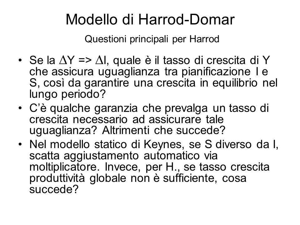 Modello di Harrod-Domar Questioni principali per Harrod Se la  Y =>  I, quale è il tasso di crescita di Y che assicura uguaglianza tra pianificazion