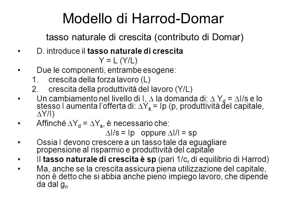 Modello di Harrod-Domar tasso naturale di crescita (contributo di Domar) Ruolo del modello di Harrod: 1.Definisce il tasso di crescita della capacità produttiva capace di assicurare l'equilibrio nel lungo periodo tra S e I necessari e piena occupazione lavoro disponibile 2.Fissa il limite superiore del tasso attuale di crescita che provocherebbe un'accumulazione inutile.
