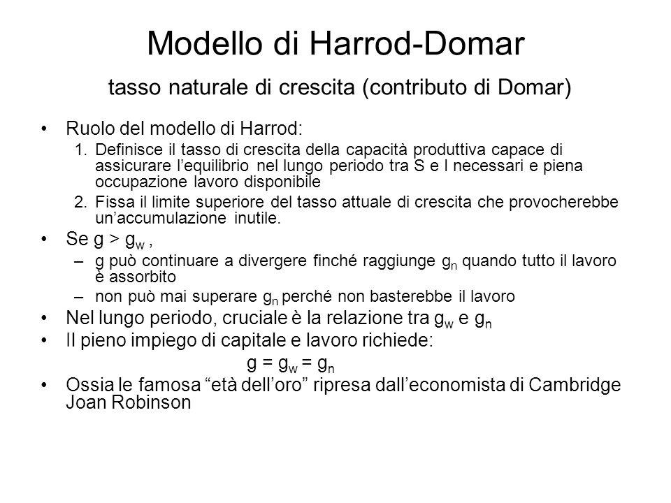 Modello di Harrod-Domar tasso naturale di crescita (contributo di Domar) Ruolo del modello di Harrod: 1.Definisce il tasso di crescita della capacità
