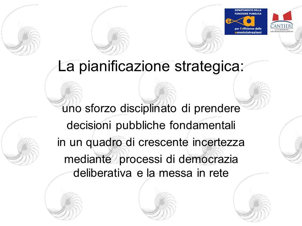 La pianificazione strategica: uno sforzo disciplinato di prendere decisioni pubbliche fondamentali in un quadro di crescente incertezza mediante processi di democrazia deliberativa e la messa in rete