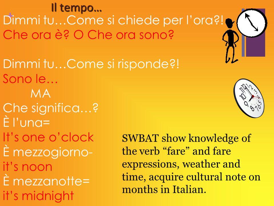 + Il tempo… Dimmi tu…Come si chiede per l'ora?! Che ora è? O Che ora sono? Dimmi tu…Come si risponde?! Sono le… MA Che significa…? È l'una= It's one o