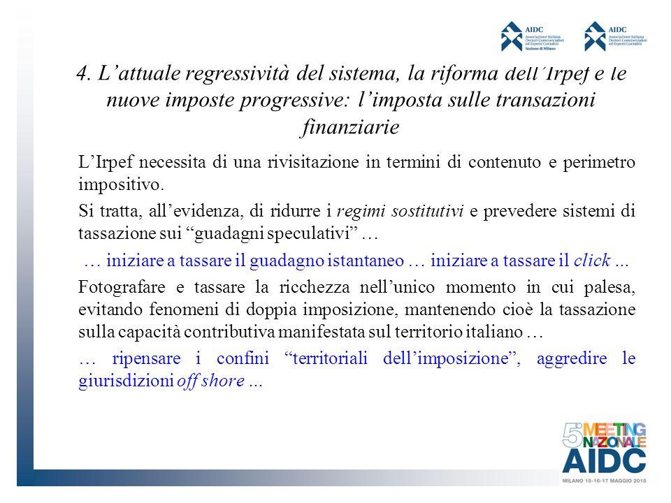 4. L'attuale regressività del sistema, la riforma dell'Irpef e le nuove imposte progressive: l'imposta sulle transazioni finanziarie L'Irpef necessita