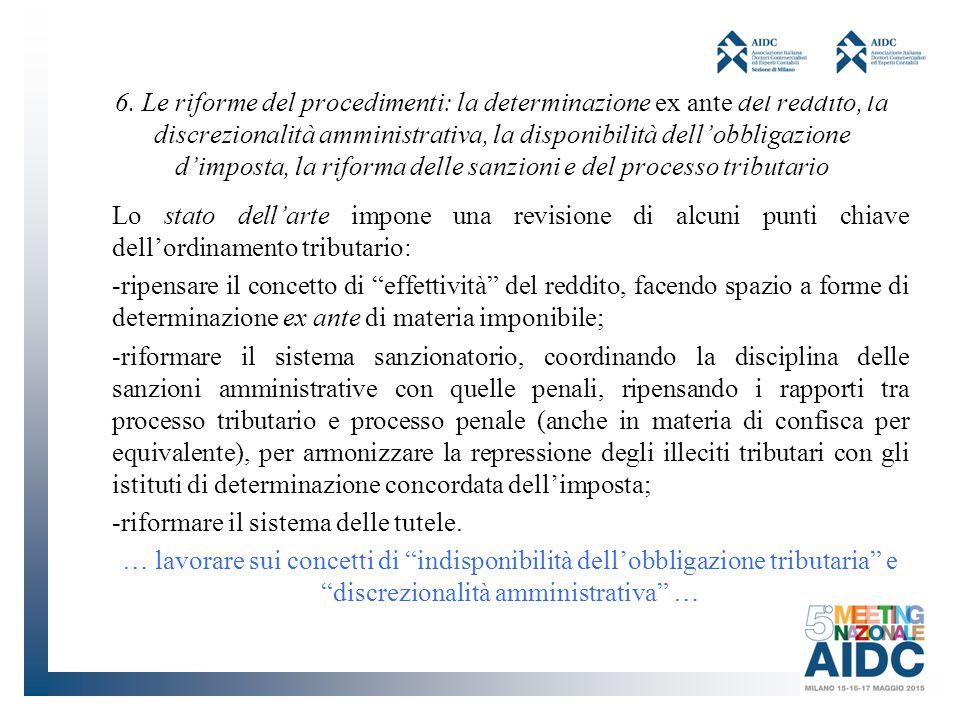 6. Le riforme del procedimenti: la determinazione ex ante del reddito, la discrezionalità amministrativa, la disponibilità dell'obbligazione d'imposta