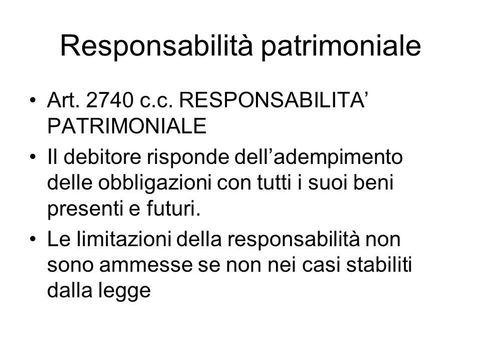 Responsabilità patrimoniale Art. 2740 c.c. RESPONSABILITA' PATRIMONIALE Il debitore risponde dell'adempimento delle obbligazioni con tutti i suoi beni