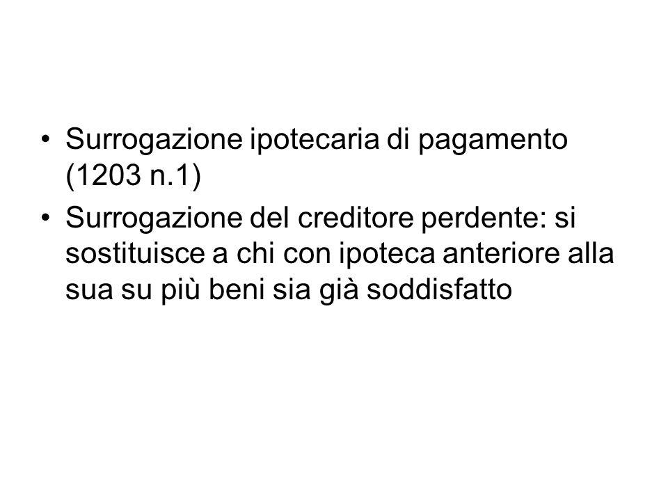 Surrogazione ipotecaria di pagamento (1203 n.1) Surrogazione del creditore perdente: si sostituisce a chi con ipoteca anteriore alla sua su più beni s