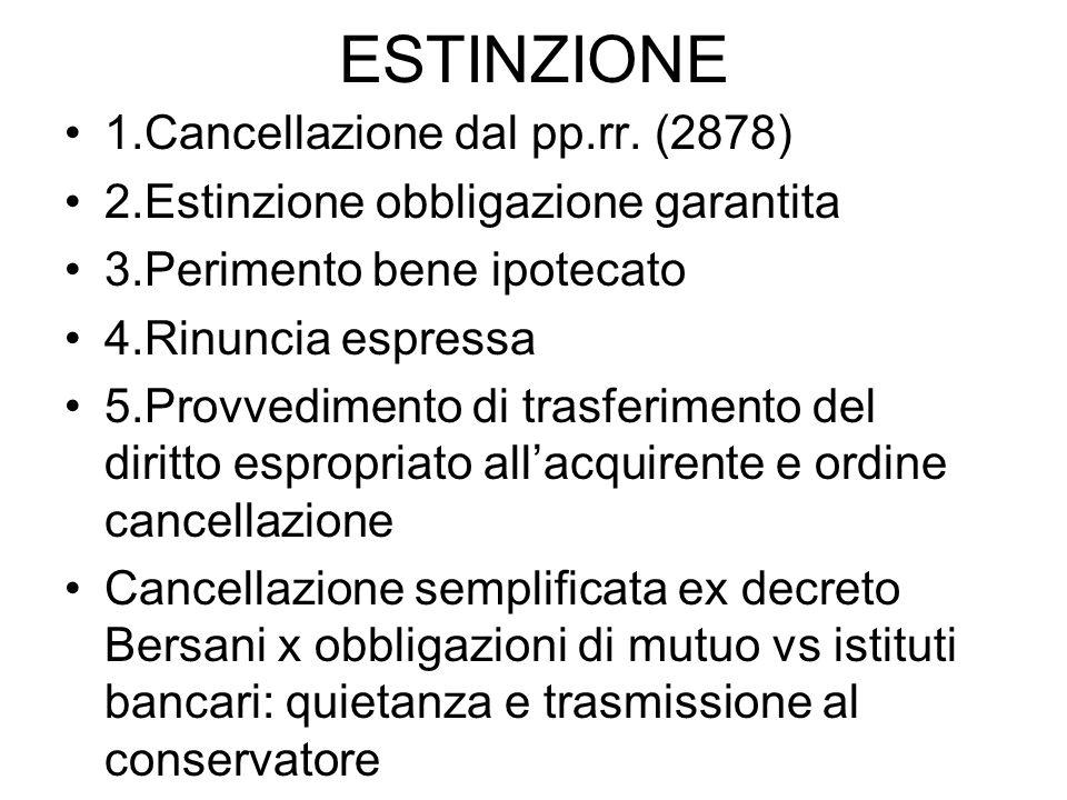 ESTINZIONE 1.Cancellazione dal pp.rr. (2878) 2.Estinzione obbligazione garantita 3.Perimento bene ipotecato 4.Rinuncia espressa 5.Provvedimento di tra