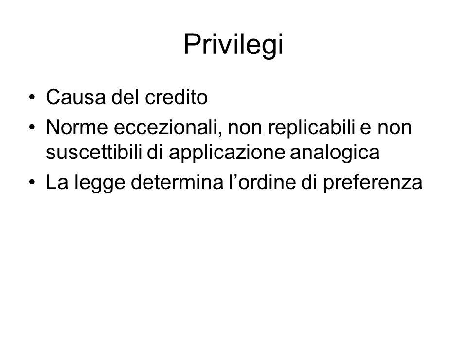 Privilegi Causa del credito Norme eccezionali, non replicabili e non suscettibili di applicazione analogica La legge determina l'ordine di preferenza