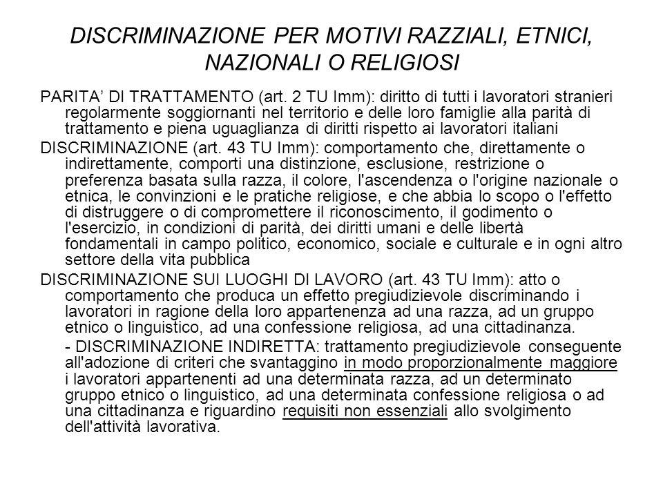 DISCRIMINAZIONE PER MOTIVI RAZZIALI, ETNICI, NAZIONALI O RELIGIOSI PARITA' DI TRATTAMENTO (art. 2 TU Imm): diritto di tutti i lavoratori stranieri reg