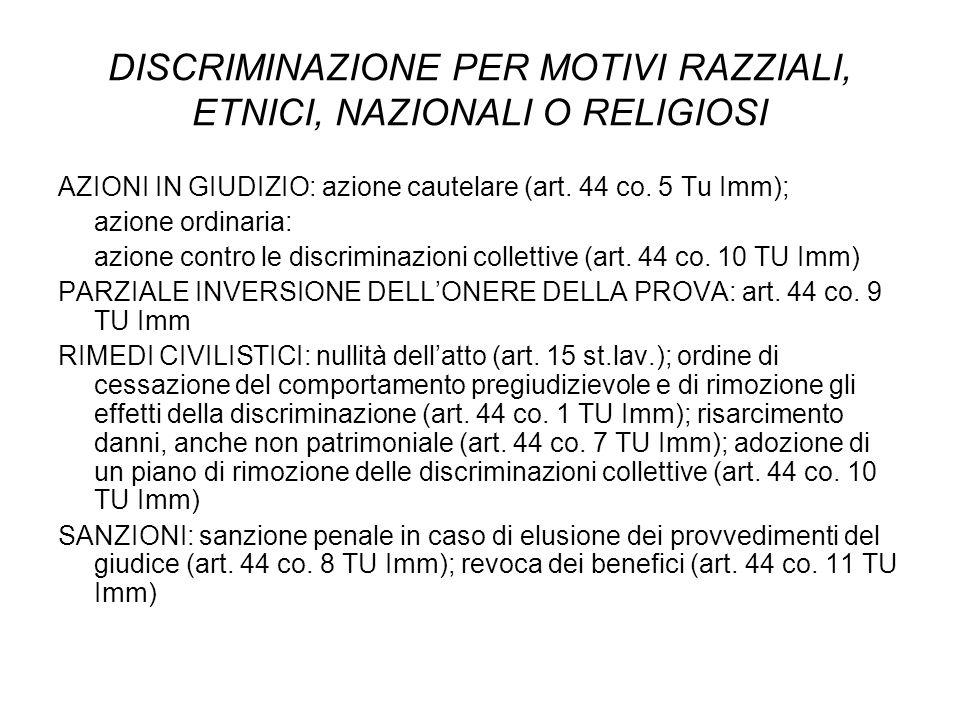 DISCRIMINAZIONE PER MOTIVI RAZZIALI, ETNICI, NAZIONALI O RELIGIOSI AZIONI IN GIUDIZIO: azione cautelare (art. 44 co. 5 Tu Imm); azione ordinaria: azio