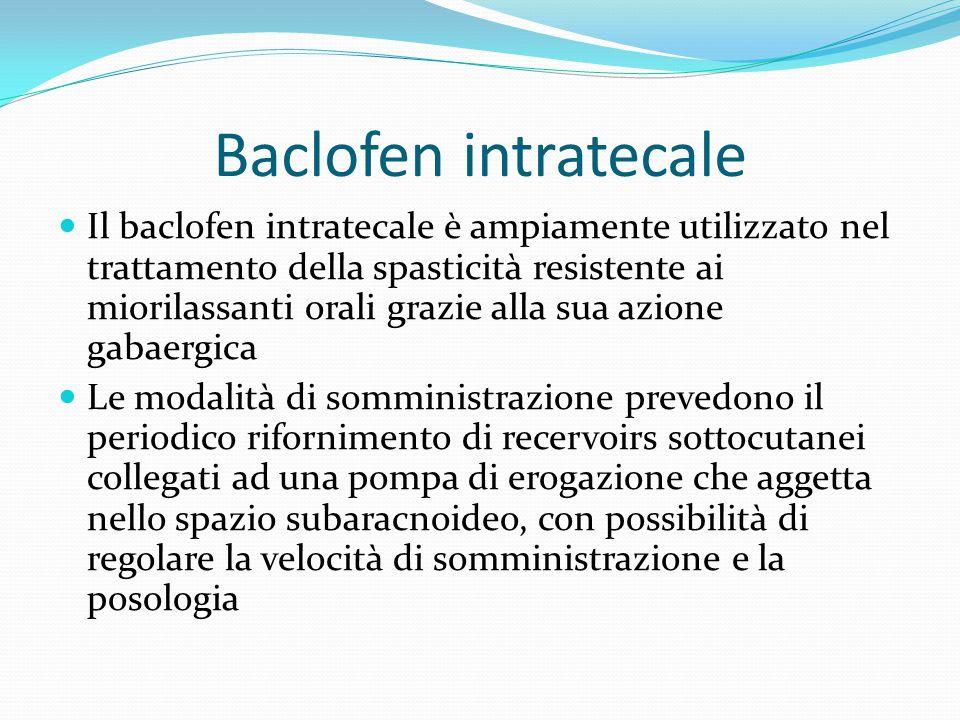 Baclofen intratecale Il baclofen intratecale è ampiamente utilizzato nel trattamento della spasticità resistente ai miorilassanti orali grazie alla su