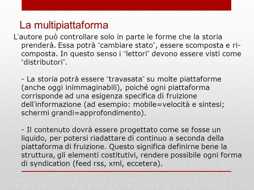 La multipiattaforma L ' autore può controllare solo in parte le forme che la storia prenderà.