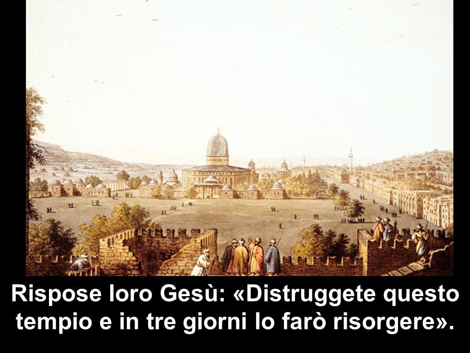Rispose loro Gesù: «Distruggete questo tempio e in tre giorni lo farò risorgere».