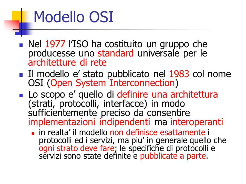 Modello OSI Nel 1977 l'ISO ha costituito un gruppo che producesse uno standard universale per le architetture di rete Il modello e' stato pubblicato nel 1983 col nome OSI (Open System Interconnection) Lo scopo e' quello di definire una architettura (strati, protocolli, interfacce) in modo sufficientemente preciso da consentire implementazioni indipendenti ma interoperanti in realta' il modello non definisce esattamente i protocolli ed i servizi, ma piu' in generale quello che ogni strato deve fare; le specifiche di protocolli e servizi sono state definite e pubblicate a parte.