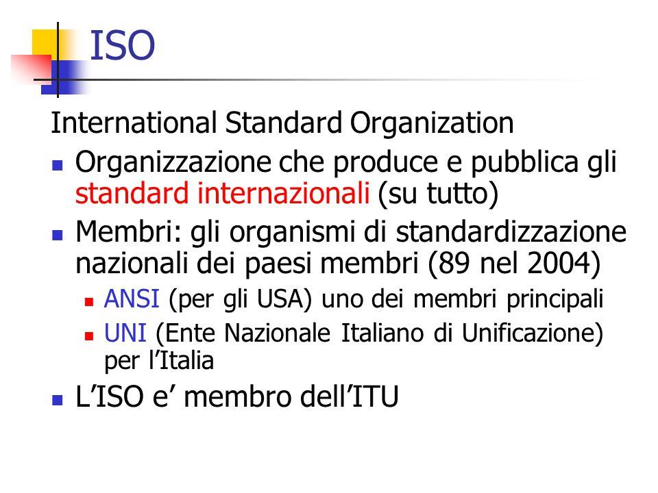 ISO International Standard Organization Organizzazione che produce e pubblica gli standard internazionali (su tutto) Membri: gli organismi di standardizzazione nazionali dei paesi membri (89 nel 2004) ANSI (per gli USA) uno dei membri principali UNI (Ente Nazionale Italiano di Unificazione) per l'Italia L'ISO e' membro dell'ITU