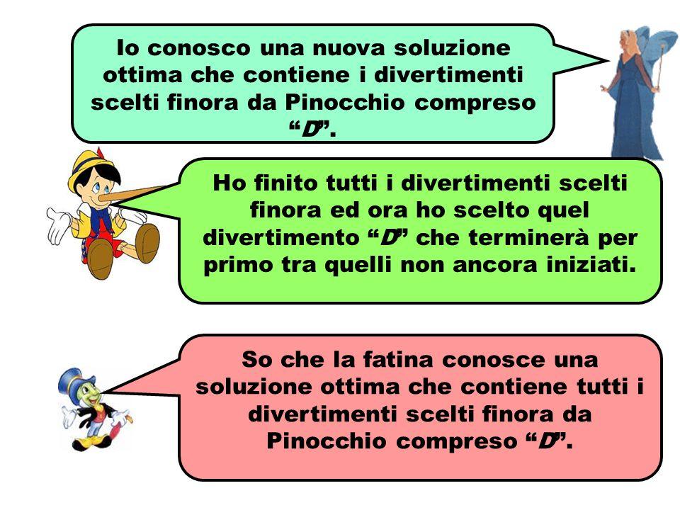 """Io conosco una nuova soluzione ottima che contiene i divertimenti scelti finora da Pinocchio compreso """"D"""". So che la fatina conosce una soluzione otti"""