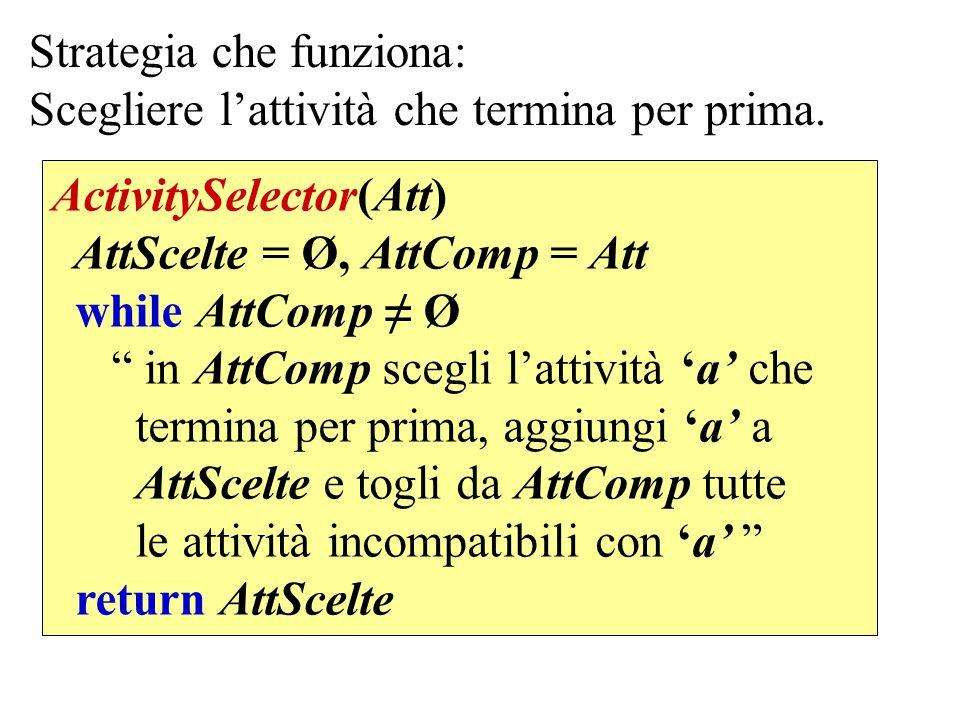 """Strategia che funziona: Scegliere l'attività che termina per prima. ActivitySelector(Att) AttScelte = Ø, AttComp = Att while AttComp ≠ Ø """" in AttComp"""