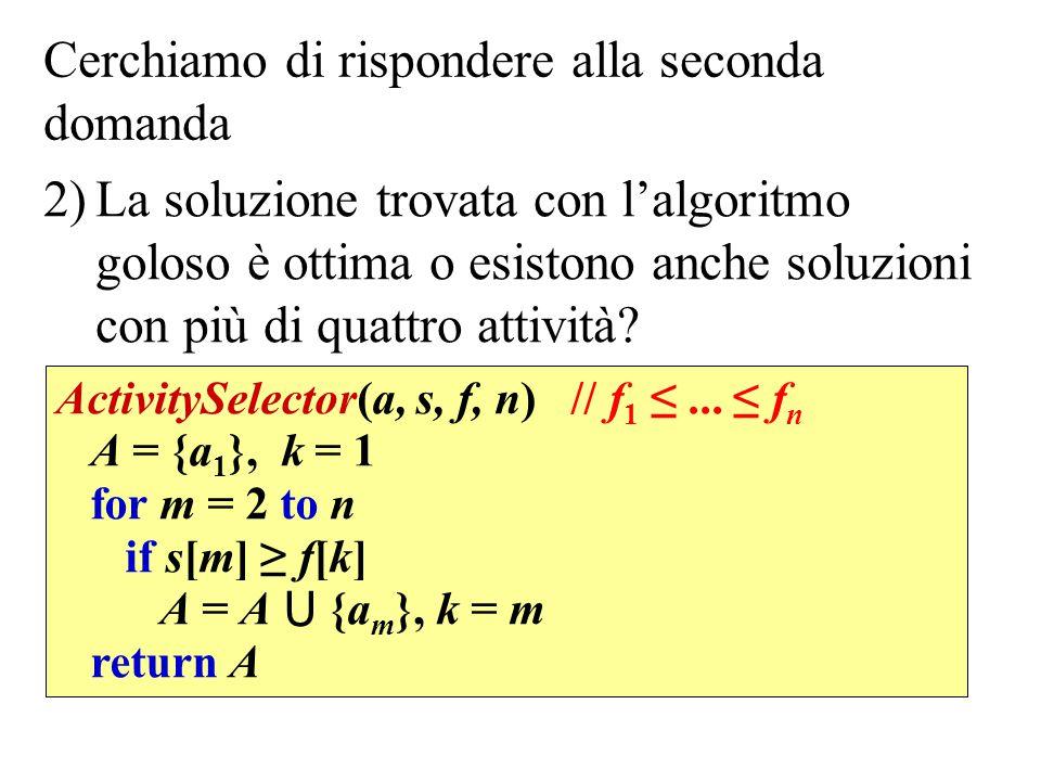 Cerchiamo di rispondere alla seconda domanda 2)La soluzione trovata con l'algoritmo goloso è ottima o esistono anche soluzioni con più di quattro atti