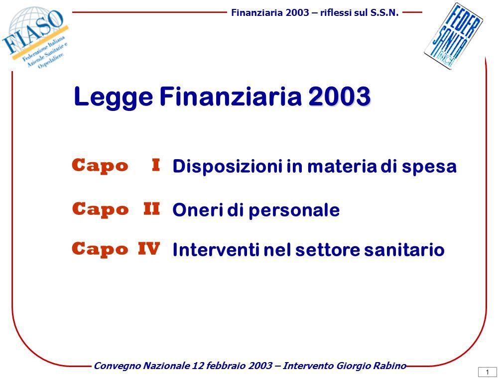 1 Finanziaria 2003 – riflessi sul S.S.N.