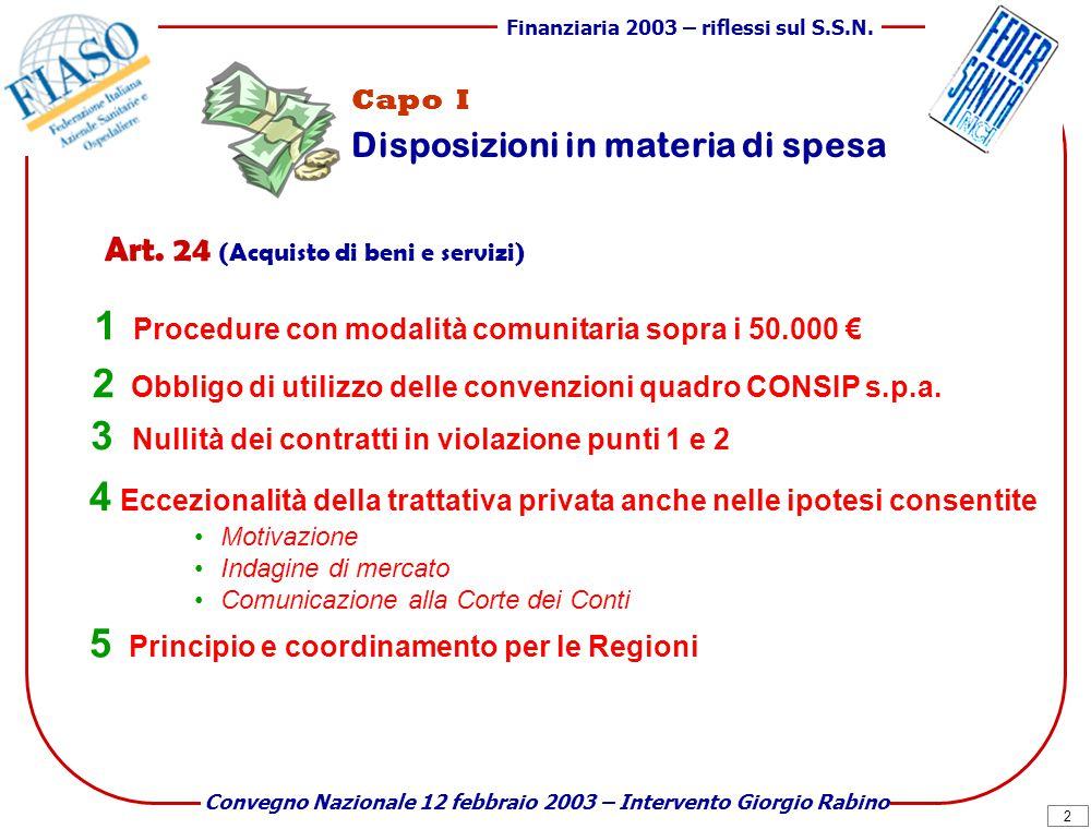3 Finanziaria 2003 – riflessi sul S.S.N.