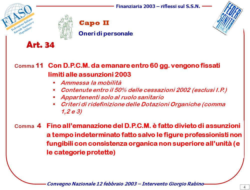 4 Finanziaria 2003 – riflessi sul S.S.N.