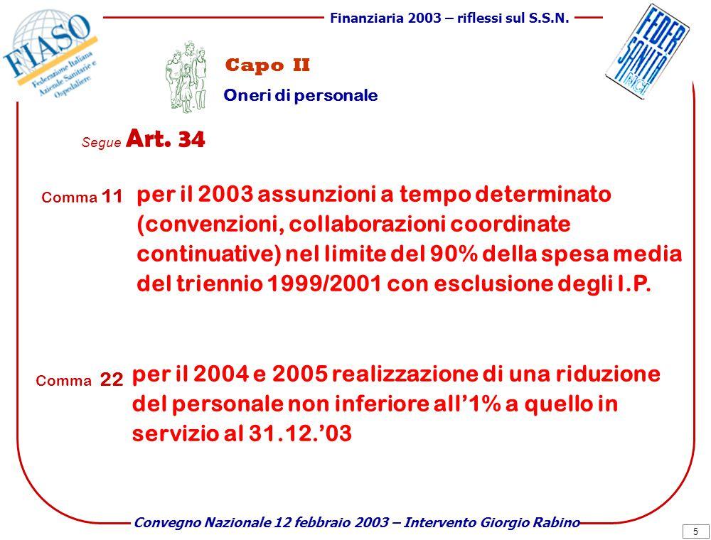 6 Finanziaria 2003 – riflessi sul S.S.N.