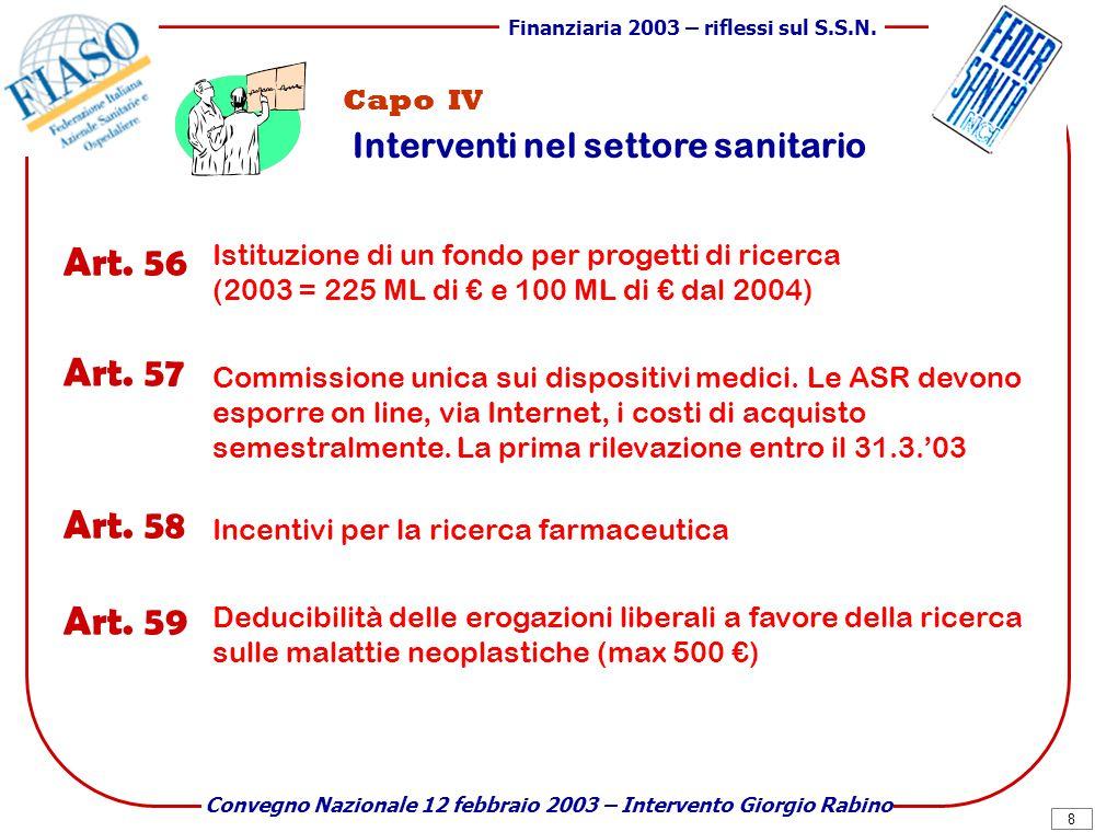 8 Finanziaria 2003 – riflessi sul S.S.N.