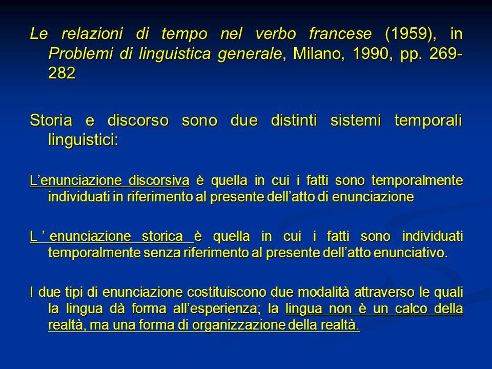 Le relazioni di tempo nel verbo francese (1959), in Problemi di linguistica generale, Milano, 1990, pp. 269- 282 Storia e discorso sono due distinti s