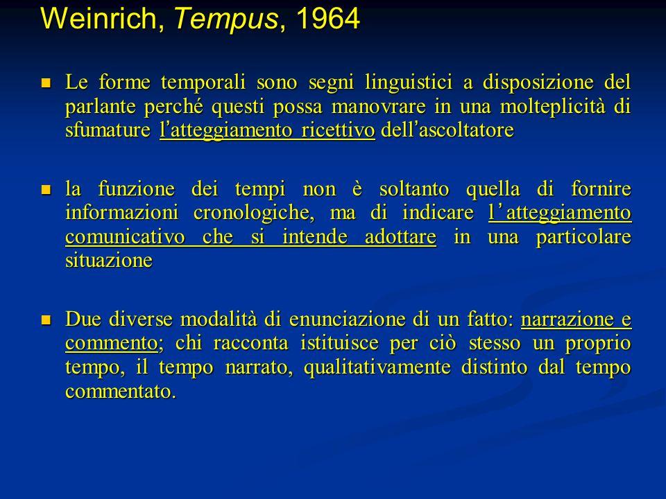 Weinrich, Tempus, 1964 Le forme temporali sono segni linguistici a disposizione del parlante perché questi possa manovrare in una molteplicità di sfum