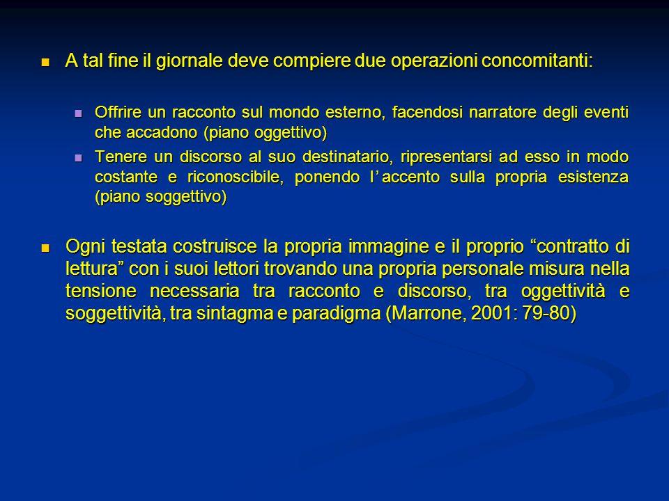 A tal fine il giornale deve compiere due operazioni concomitanti: A tal fine il giornale deve compiere due operazioni concomitanti: Offrire un raccont