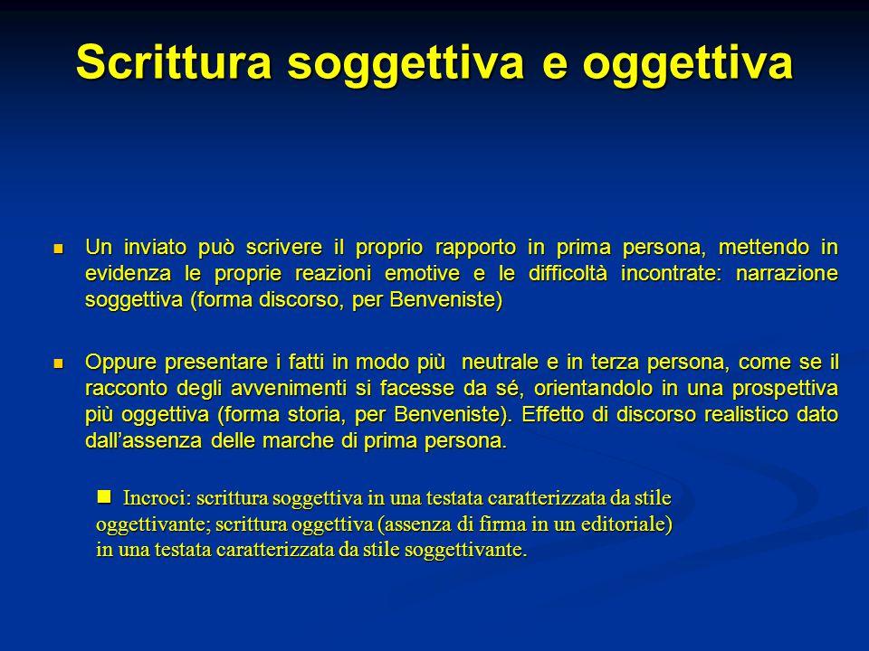 Scrittura soggettiva e oggettiva Un inviato può scrivere il proprio rapporto in prima persona, mettendo in evidenza le proprie reazioni emotive e le d