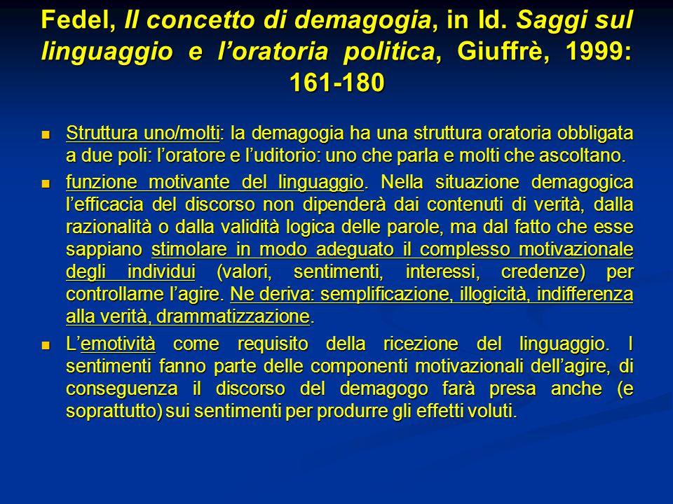 Fedel, Il concetto di demagogia, in Id. Saggi sul linguaggio e l'oratoria politica, Giuffrè, 1999: 161-180 Fedel, Il concetto di demagogia, in Id. Sag