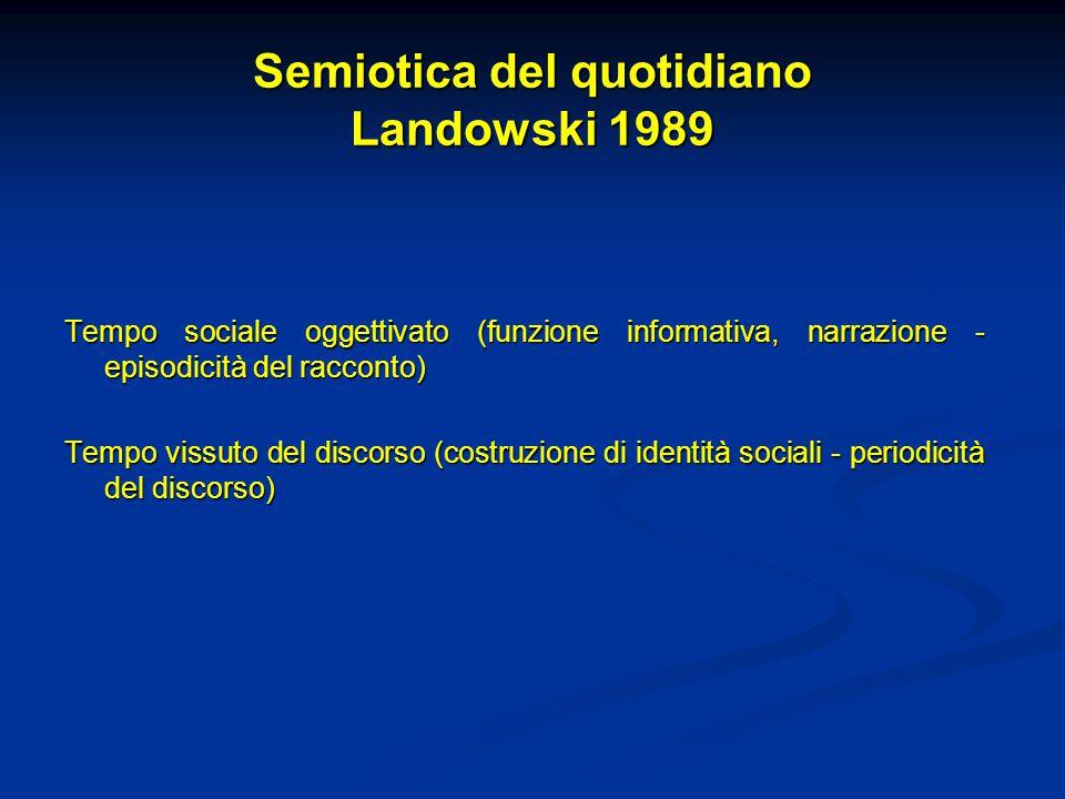 Semiotica del quotidiano Landowski 1989 Tempo sociale oggettivato (funzione informativa, narrazione - episodicità del racconto) Tempo vissuto del disc