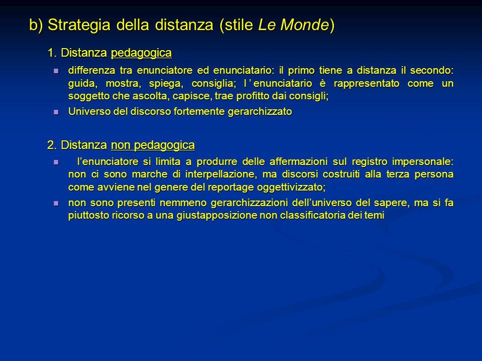 b) Strategia della distanza (stile Le Monde) 1. Distanza pedagogica differenza tra enunciatore ed enunciatario: il primo tiene a distanza il secondo:
