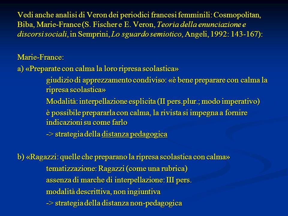 Vedi anche analisi di Veron dei periodici francesi femminili: Cosmopolitan, Biba, Marie-France (S. Fischer e E. Veron, Teoria della enunciazione e dis