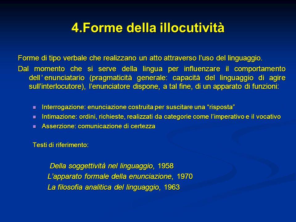 4.Forme della illocutività Forme di tipo verbale che realizzano un atto attraverso l'uso del linguaggio. Dal momento che si serve della lingua per inf